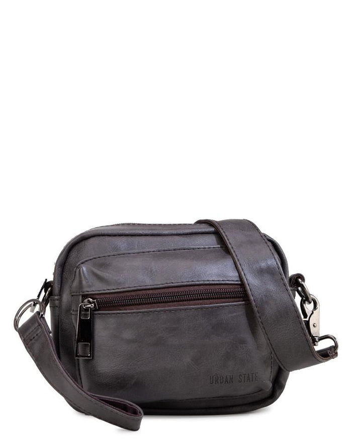 Pu Flight Mini Crossbody Bag - Brown Messenger Bags - Urban State Indonesia