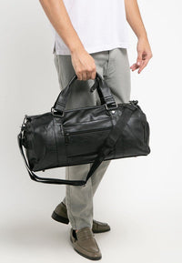Distressed Leather Carryall Duffel Bag - Black
