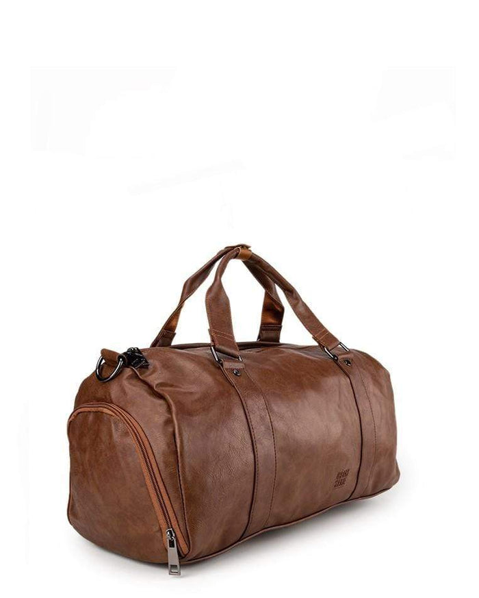 Distressed Leather Carryall Duffel Bag - Camel Duffel Bags - Urban State Indonesia