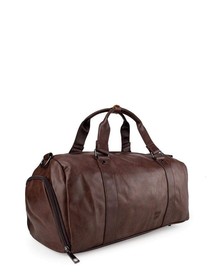Distressed Leather Carryall Duffel Bag - Dark Brown Duffel Bags - Urban State Indonesia