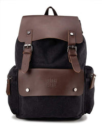 Canvas PU Buckled Flap Backpack - Black Backpacks - Urban State Indonesia