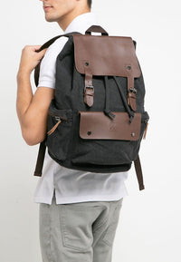 Canvas PU Buckled Flap Backpack - Black