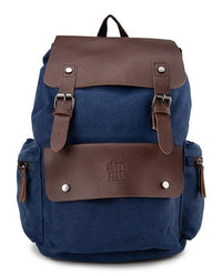 Canvas PU Buckled Flap Backpack - Navy Backpacks - Urban State Indonesia