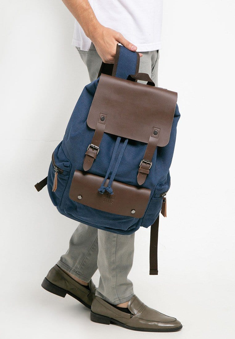 Canvas PU Buckled Flap Backpack - Navy