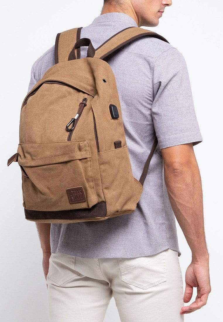 Canvas PU Zipper Backpack - Brown Backpacks - Urban State Indonesia