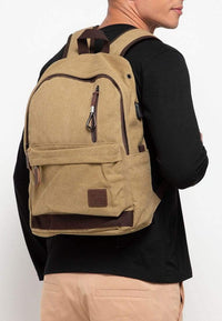 Canvas PU Zipper Backpack - Khaki
