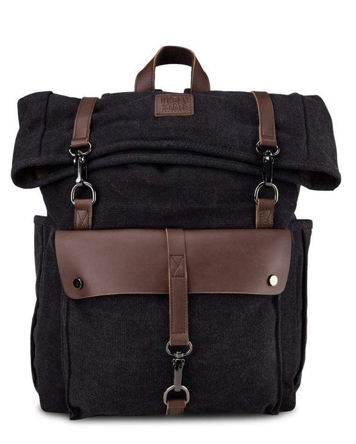Canvas PU Rucksack Backpack - Black Backpacks - Urban State Indonesia