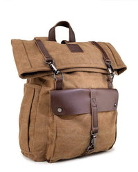 Canvas PU Rucksack Backpack - Brown Backpacks - Urban State Indonesia