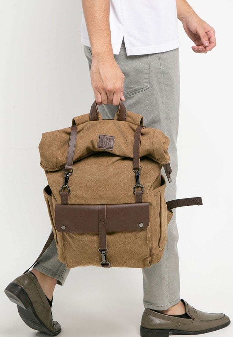 Canvas PU Rucksack Backpack - Brown