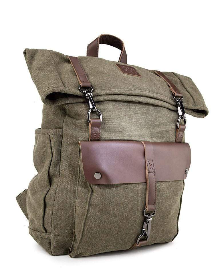 Canvas PU Rucksack Backpack - Green Backpacks - Urban State Indonesia
