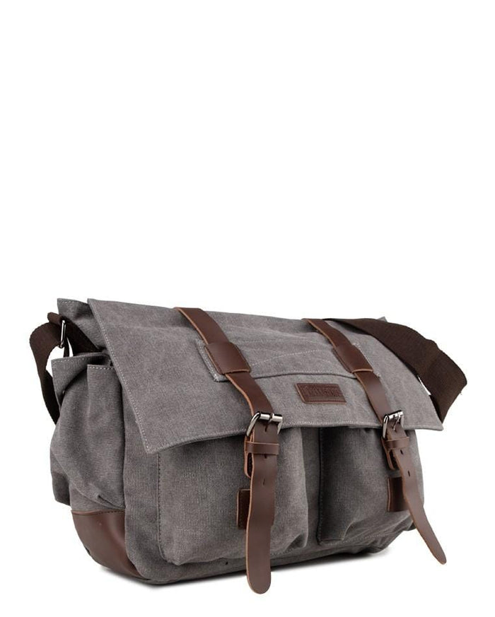 Canvas PU Explorer Messenger Bag - Grey Messenger Bags - Urban State Indonesia