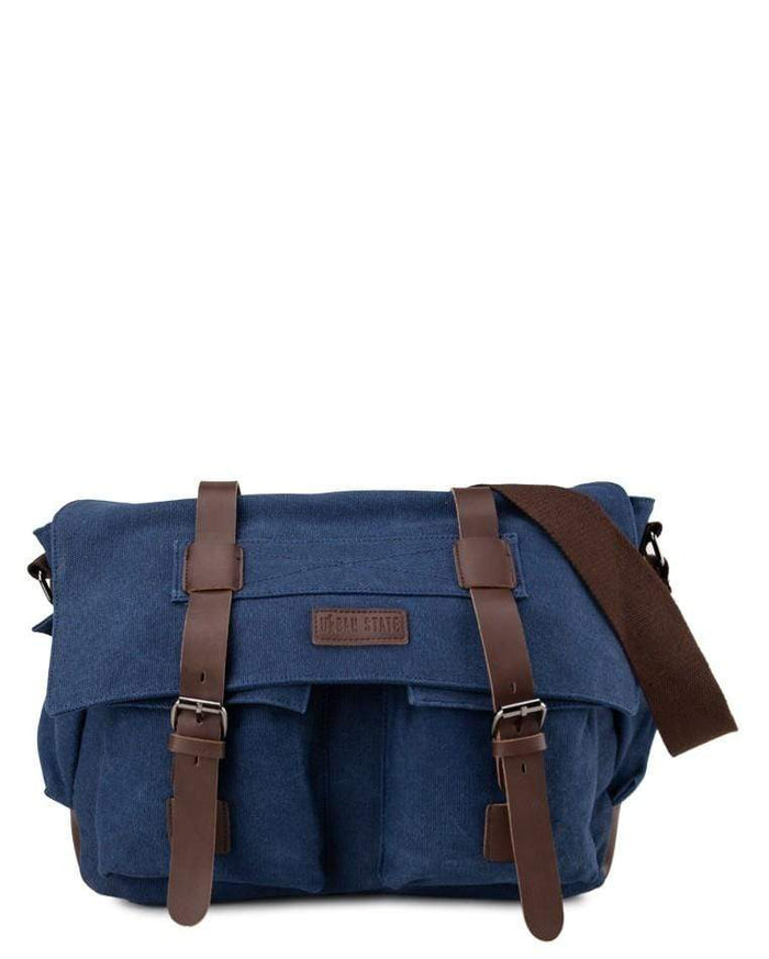 Canvas PU Explorer Messenger Bag - Navy Messenger Bags - Urban State Indonesia