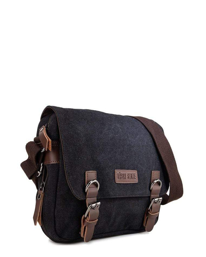 Canvas PU Buckle Crossbody Bag - Black Crossbody Bag - Urban State Indonesia