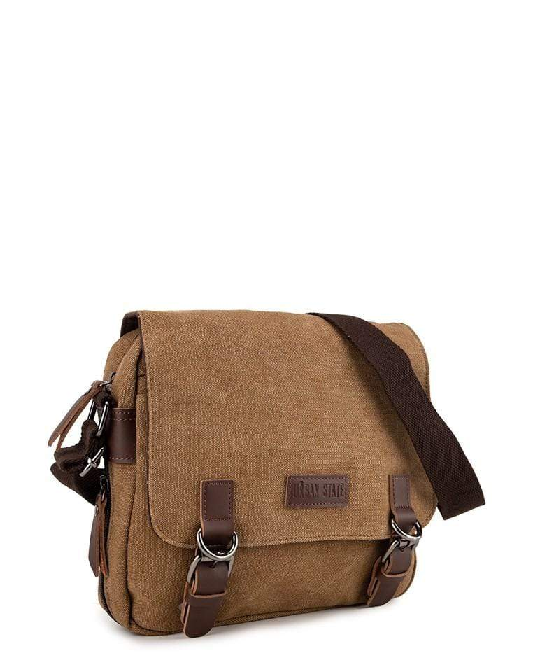Canvas PU Buckle Crossbody Bag - Brown Crossbody Bag - Urban State Indonesia