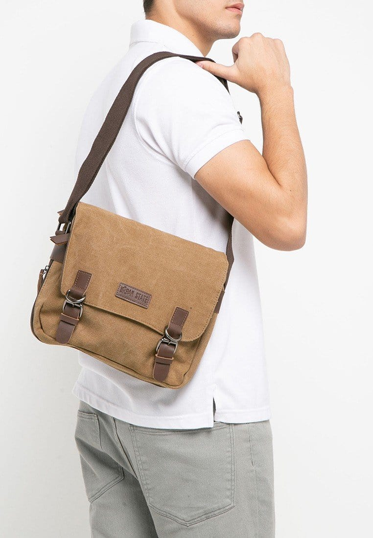 Canvas PU Buckle Crossbody Bag - Brown