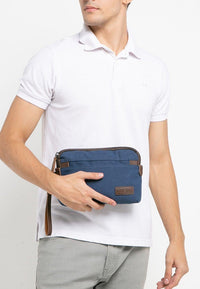 Canvas PU Wrislet Pouch - Navy