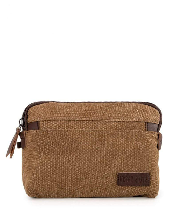 Canvas PU Wrislet Pouch - Brown Pouch - Urban State Indonesia