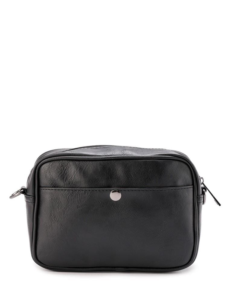 Distressed Leather Zipper Crossbody Bag - Black