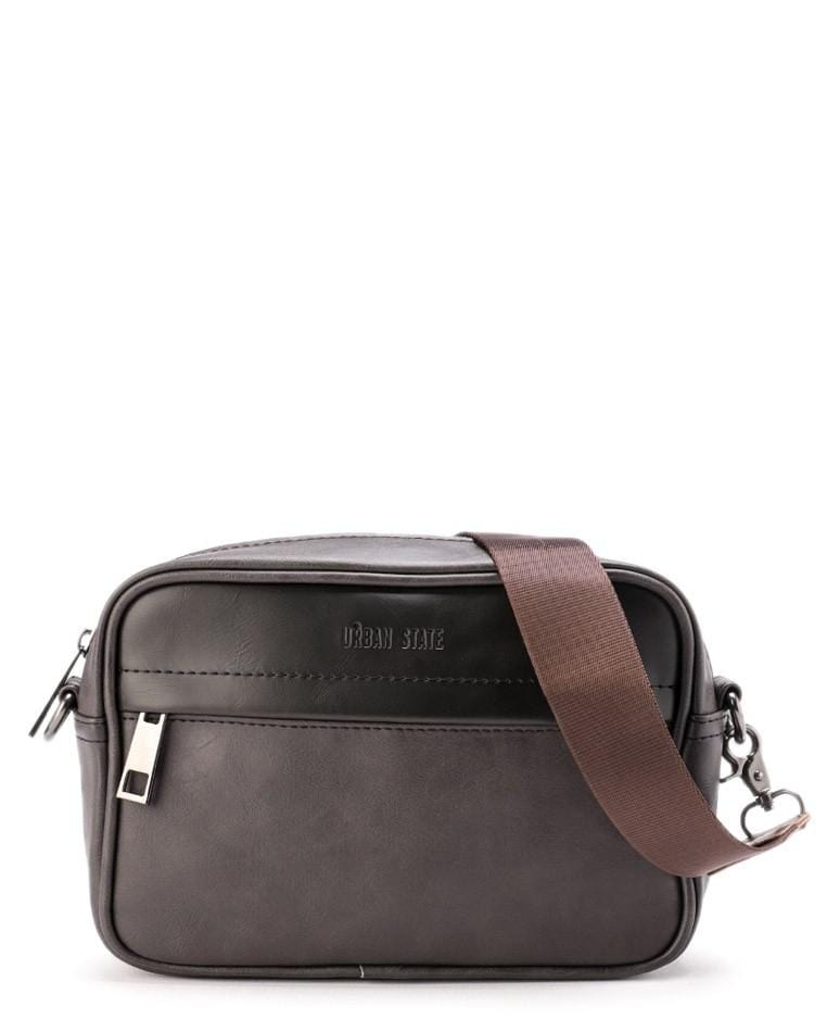 Distressed Leather Zipper Crossbody Bag - Brown