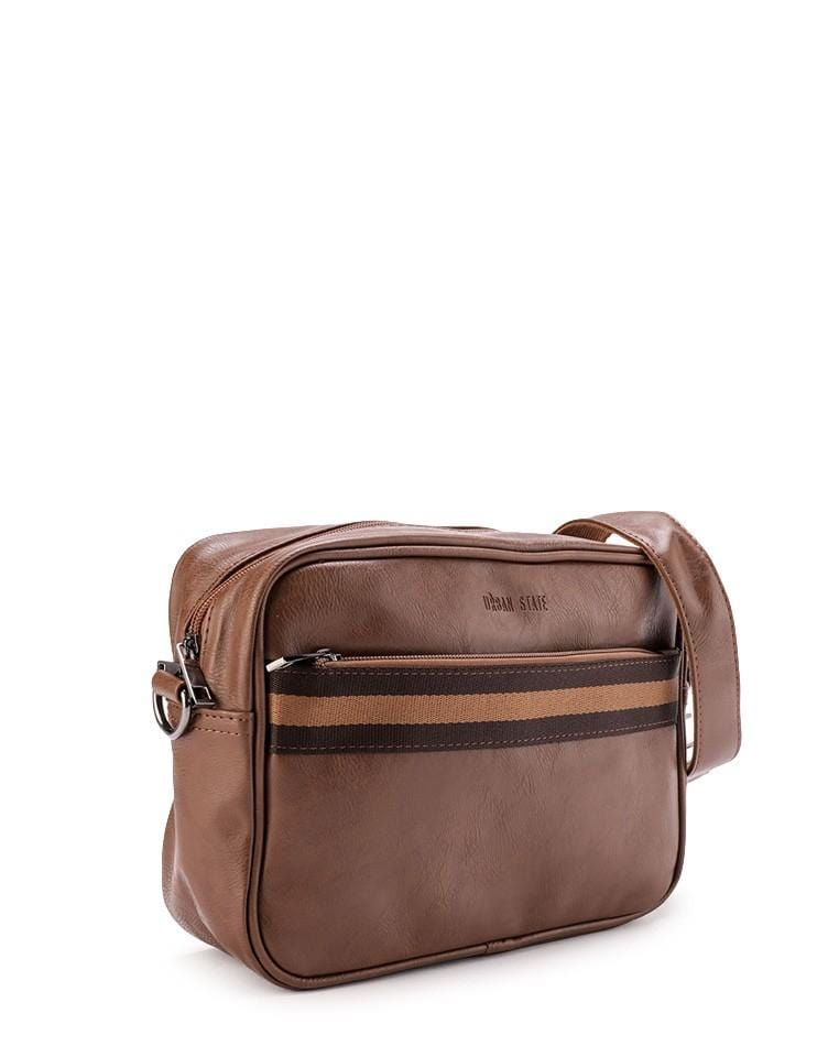 Distressed Leather Striped Crossbody Bag - Camel