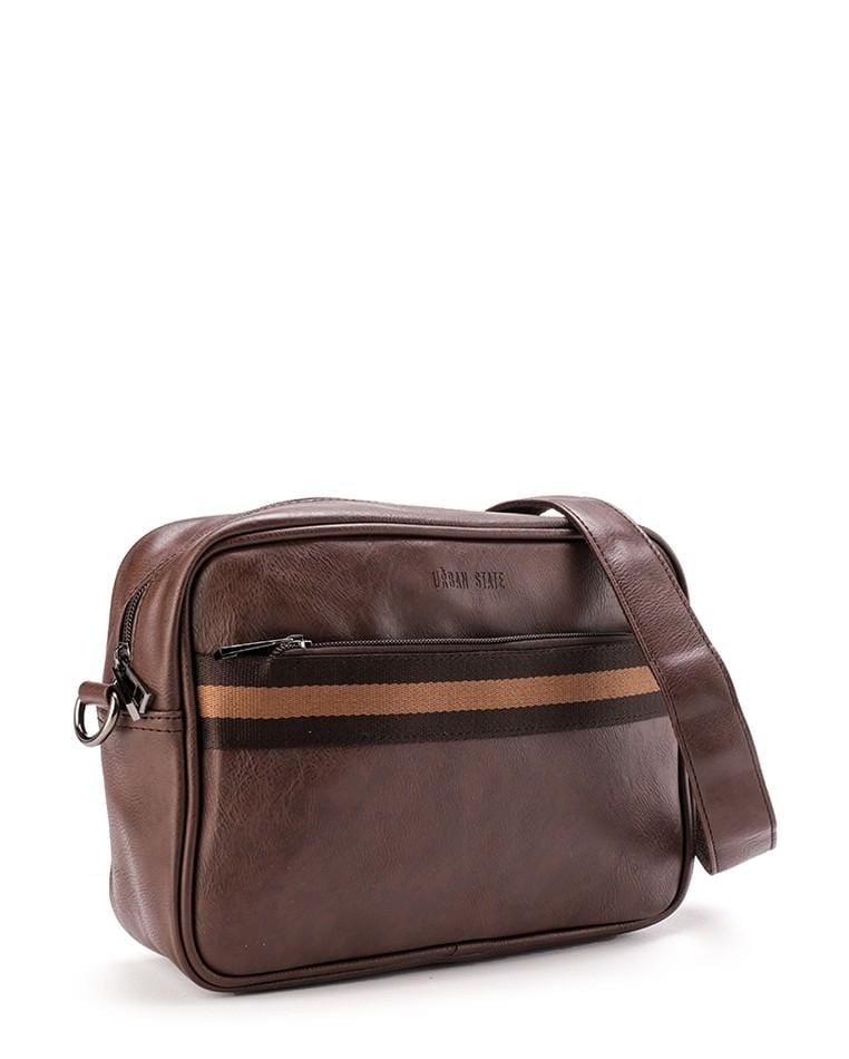 Distressed Leather Striped Crossbody Bag - Dark Brown