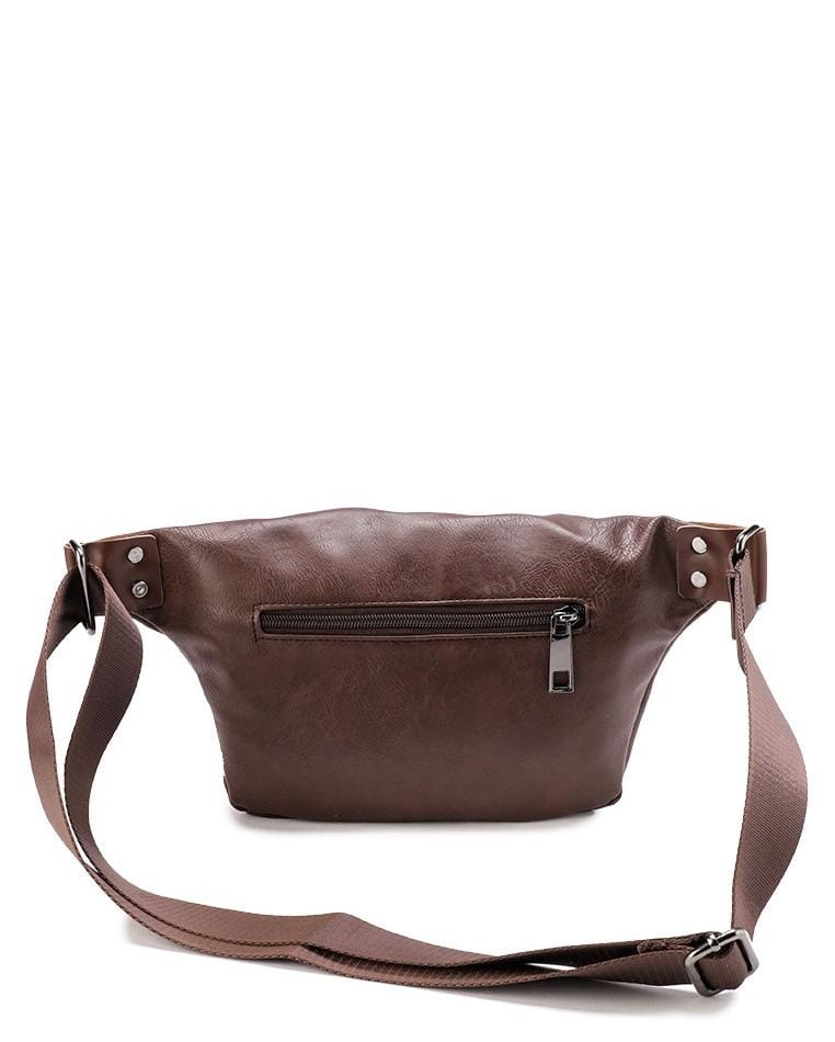Distressed Leather Small Bumbag - Dark Brown