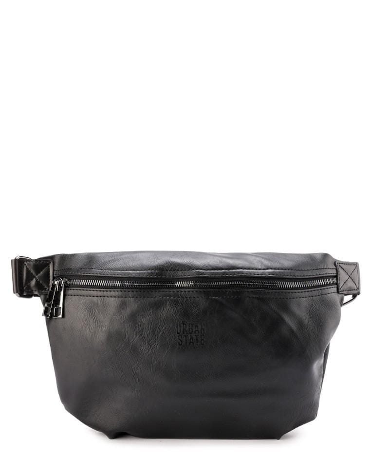 Distressed Leather Medium Bumbag - Black