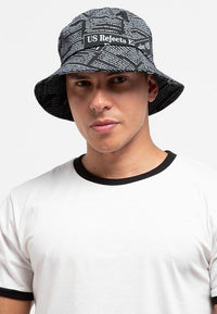 Newspaper Bucket Hat - Black