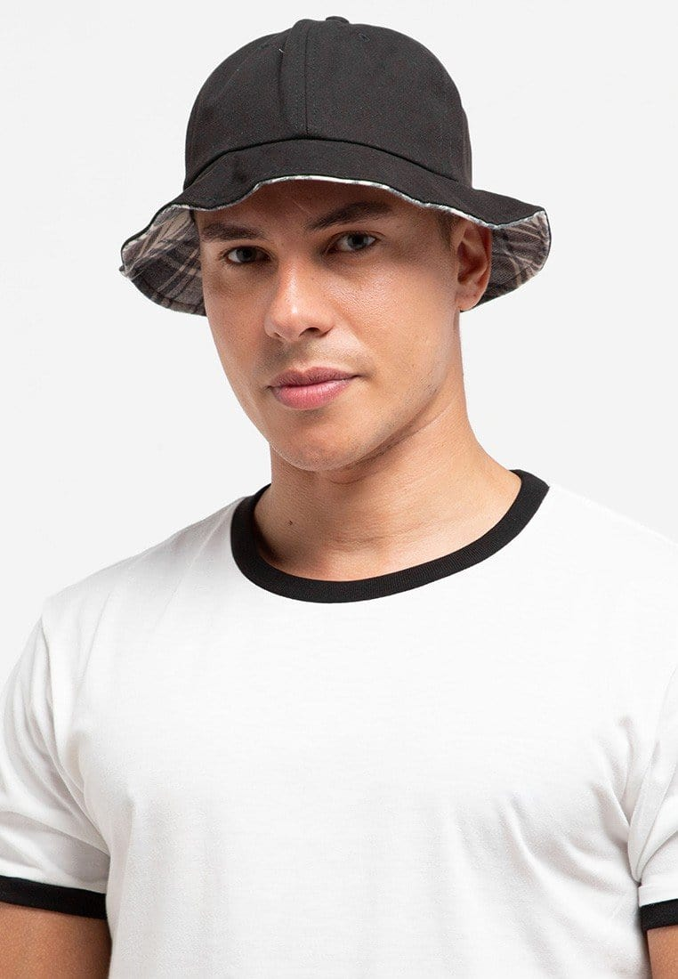 Checker Brim Tropical Hat - Black
