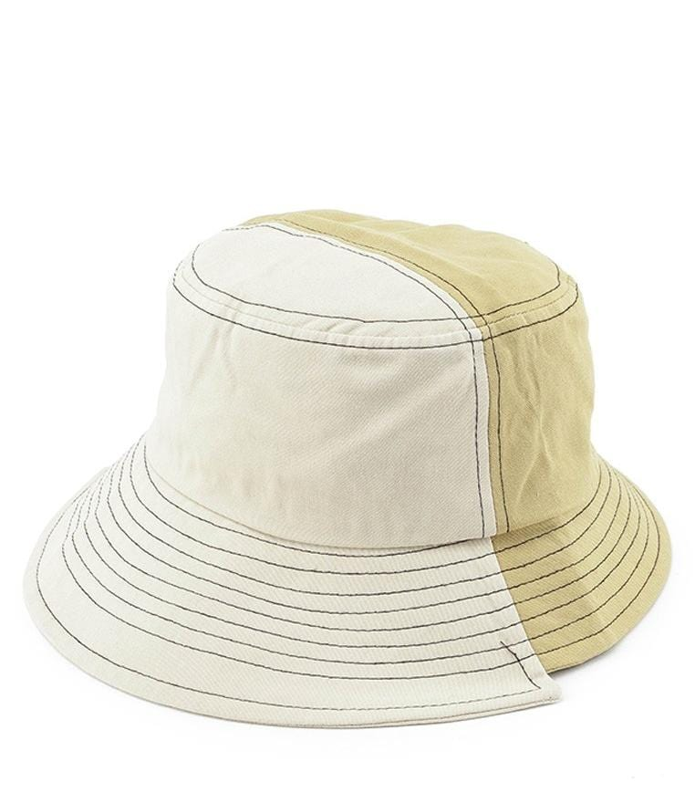 Colorblock Bucket Hat - Cream Yellow