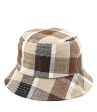 Contrast Plaid Bucket Hat - Brown