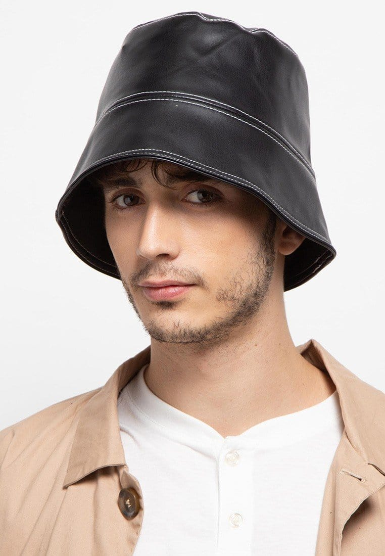PU Leather Bucket Hat - Black