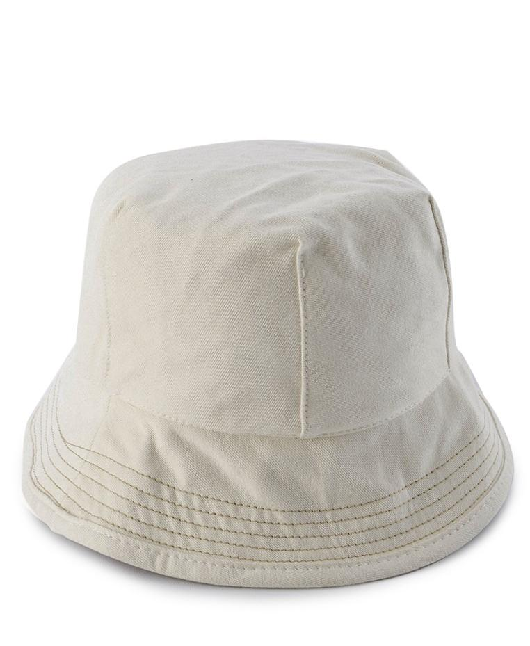 Contrast Stitch Bucket Hat - Cream