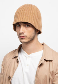 Textured Knit Beanie - Brown