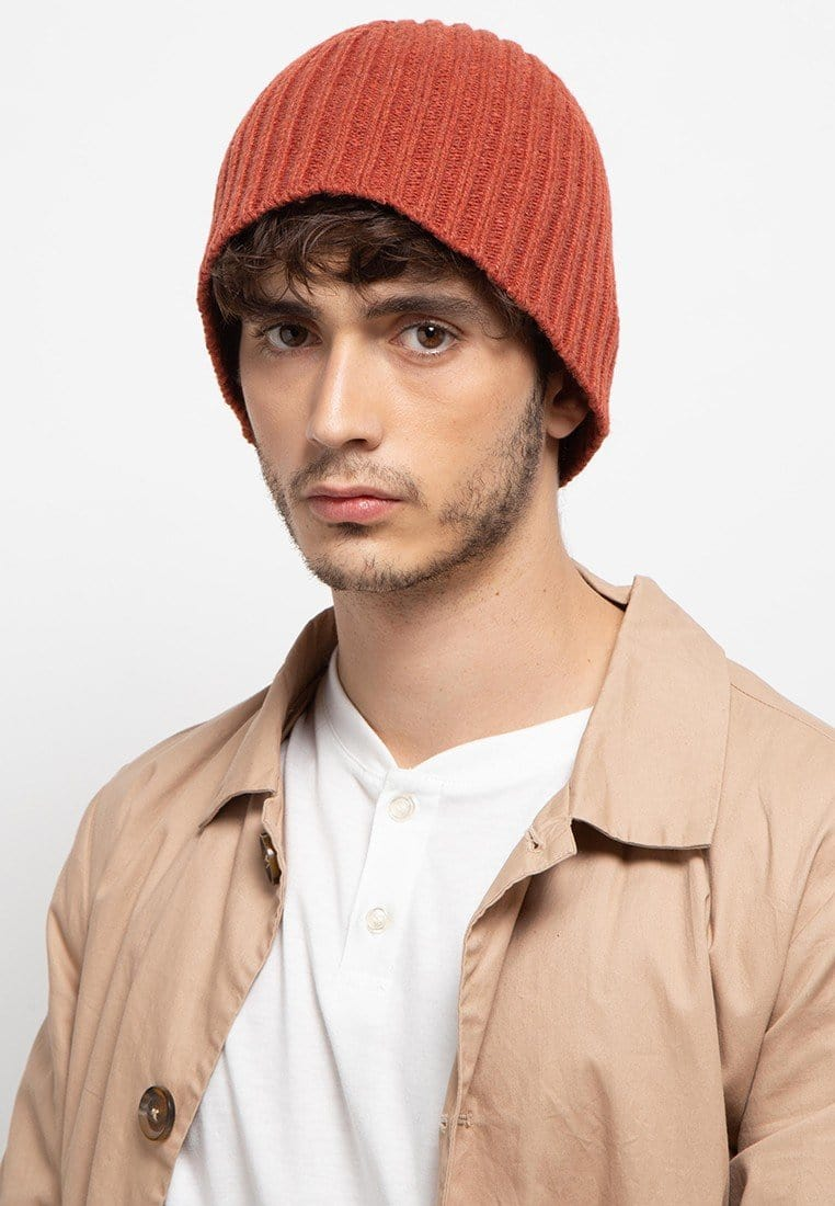 Textured Knit Beanie - Red