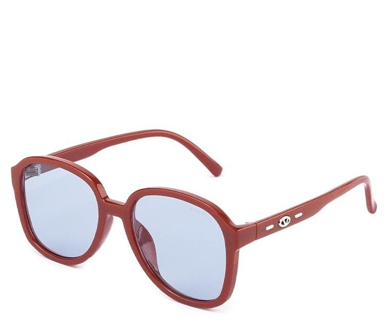 Plastic Frame Oversized Square Sunglasses - Blue Red