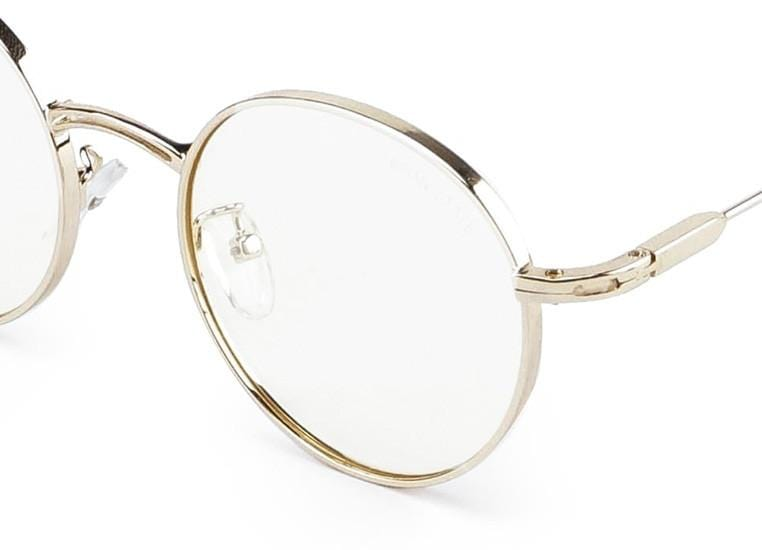Metal Frame Retro Small Round Sunglasses - Yellow Gold