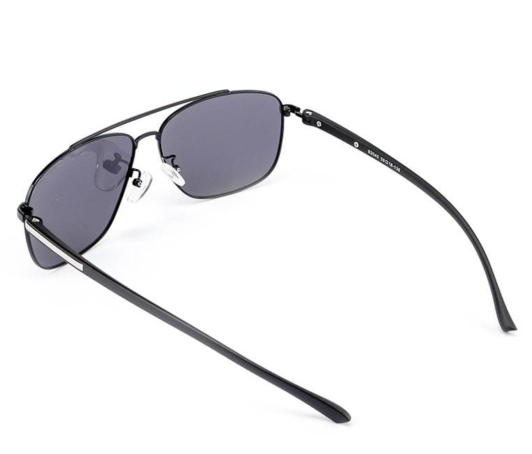 Polarized Metal Frame Oval Aviator Sunglasses - Black Black