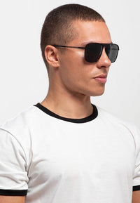 Polarized Pilot Shield Sunglasses - Black Black