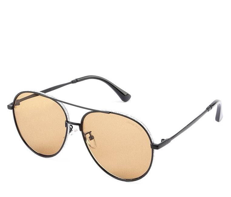 Oversized Metal Frame Aviator Sunglasses - Brown Black