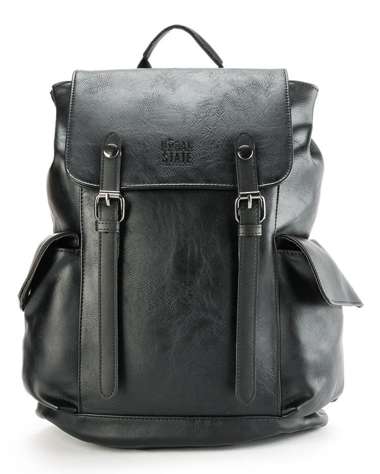Distressed Leather Carryall Backpack - Black
