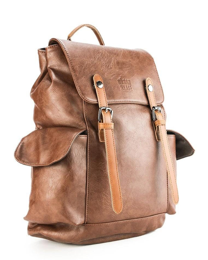 Distressed Leather Carryall Backpack - Camel