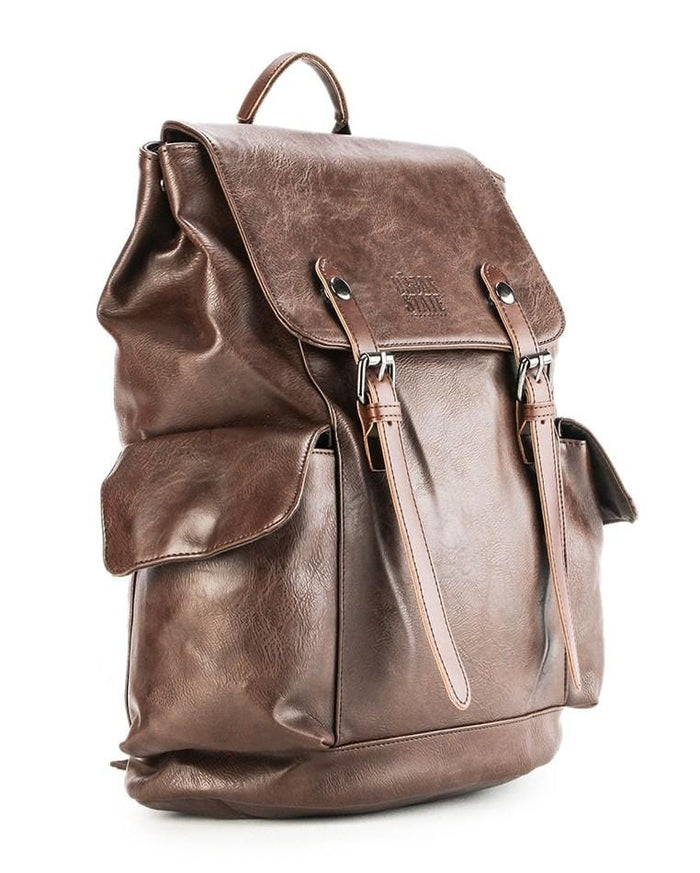 Distressed Leather Carryall Backpack - Dark Brown