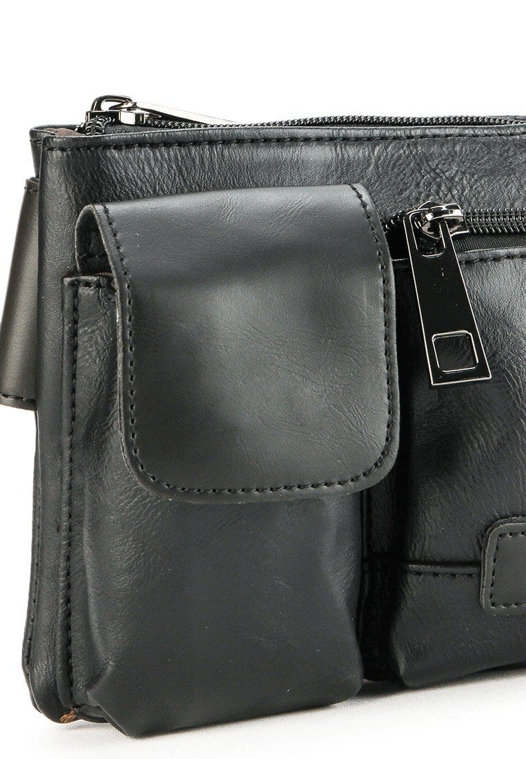 Distressed Leather Carryall Waist Pouch - Black