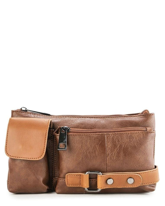 Distressed Leather Carryall Waist Pouch - Camel