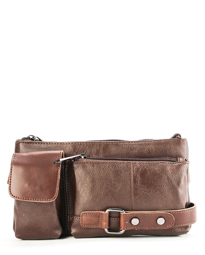 Distressed Leather Carryall Waist Pouch - Dark Brown