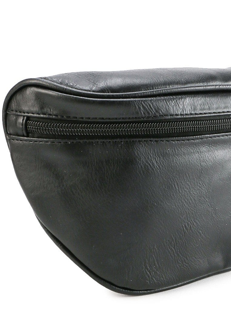 Distressed Leather Carryall Bumbag - Black