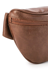 Distressed Leather Carryall Bumbag - Camel