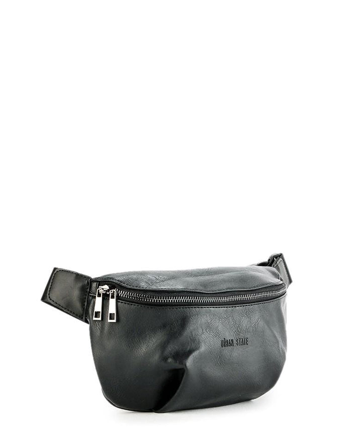 Distressed Leather Saddle Bumbag - Black
