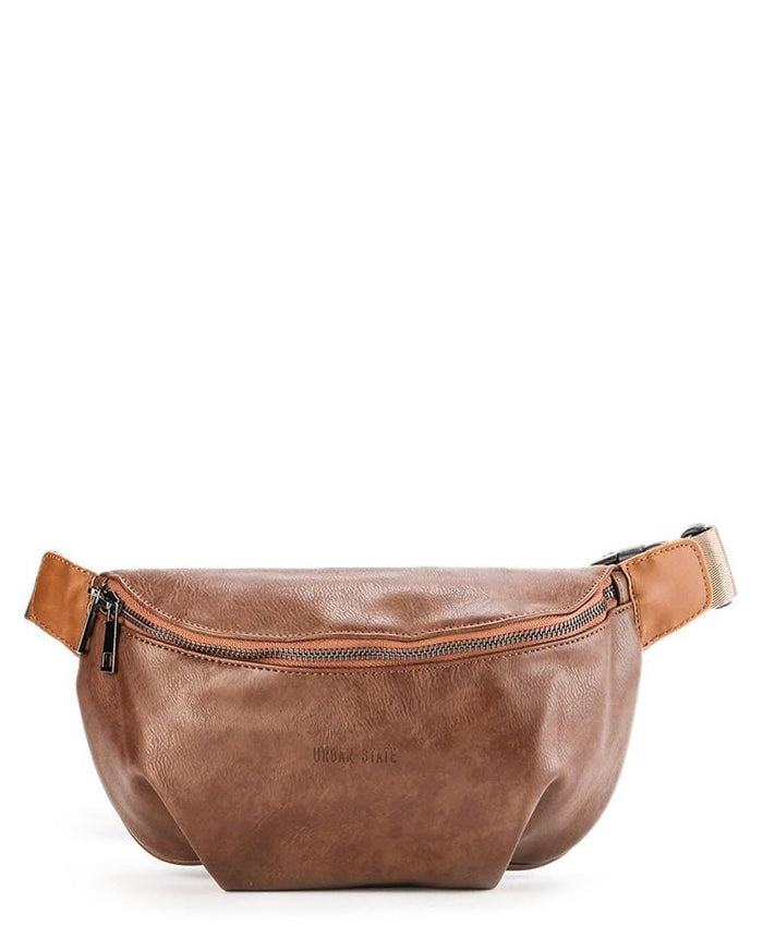 Distressed Leather Saddle Bumbag - Camel